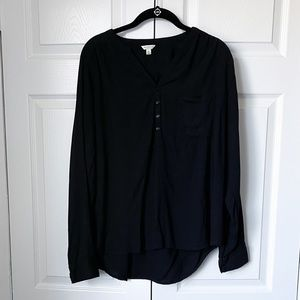 Sonoma Black Blouse with 1/4 Buttons and Pocket